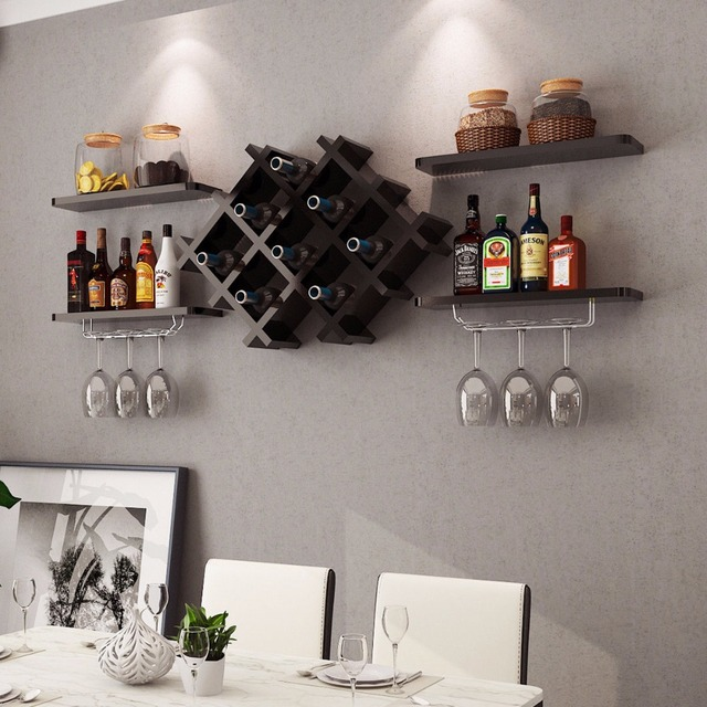 Goplus Set Of 5 Wall Mount Wine Rack Set W Storage Shelves And