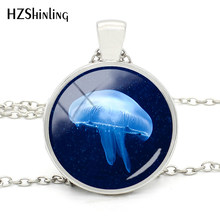 2018 New Fashion Beautiful Jellyfish Necklace Sea World Jewelry Necklace Glass Round Pendant Necklace for Gift(China)