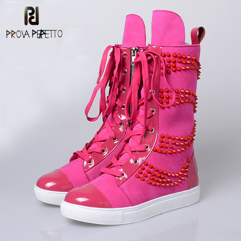 Prova Perfetto 2018 New Designer Thick Bottom with Rivet Canvas Mid Boots Genuine Leather Lazy Colorful Boots Casual Flat ShoesProva Perfetto 2018 New Designer Thick Bottom with Rivet Canvas Mid Boots Genuine Leather Lazy Colorful Boots Casual Flat Shoes