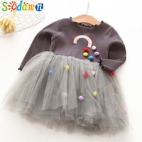 e3992ec3d7fb Sodawn 2018 Spring New Baby Girl Clothes Fashion Embroidery Rainbow Ball  Design Gauze Girls Princess Dress