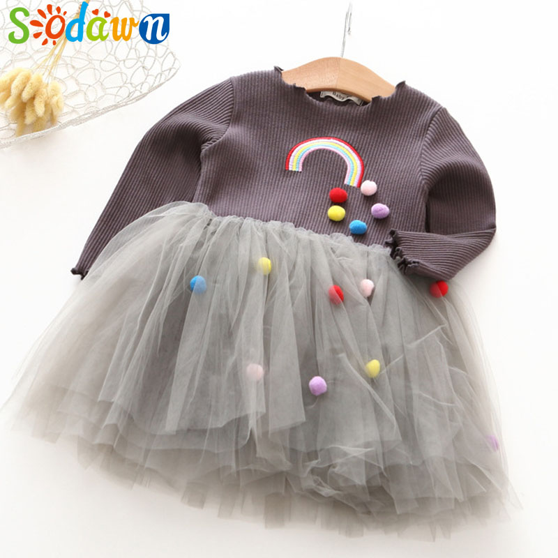 Sodawn 2018 Spring New Baby Girl Clothes Fashion Embroidery Rainbow Ball Design Gauze Girls Princess Dress For Children Clothing