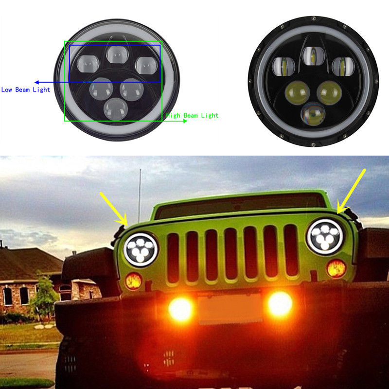 Pair 7 inch 60W Round Hi / Lo Beam LED Headlight For Jeep Wrangler JK TJ LJ Sahara Rubicon Sport Unlimited with Angel Eyes DRL pair lantsun j269 locking hood hold down for jeep wrangler jk jku unlimited rubicon sahara x sport 1997 2017