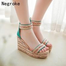 Summer Women Sandals Sexy Espadrilles High Heels Wedges Shoes Woman Bohemia Platform Sandalia Feminina 2019 Plus Size 43