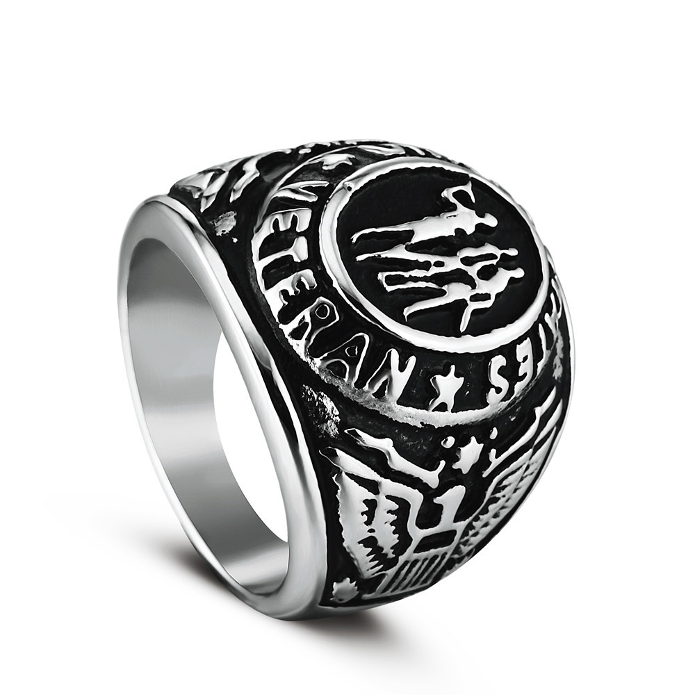 High Quality 2 Color Ring Silver Colored Marine Corps Veteran Ring Gold  Plating Military Collectibles Ring