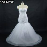QQ Lover 2018 Новый Полный бисера небольшой шлейф свадебного платья со шнуровкой сзади невесты платья Vestido De Noiva