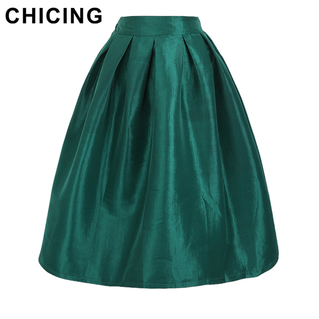 CHICING 10 Color 2017 Street Snap Vintage Classic High Waist Bright Flare Pleated Midi Skirt Female Swing Skirt Plus Size A7008