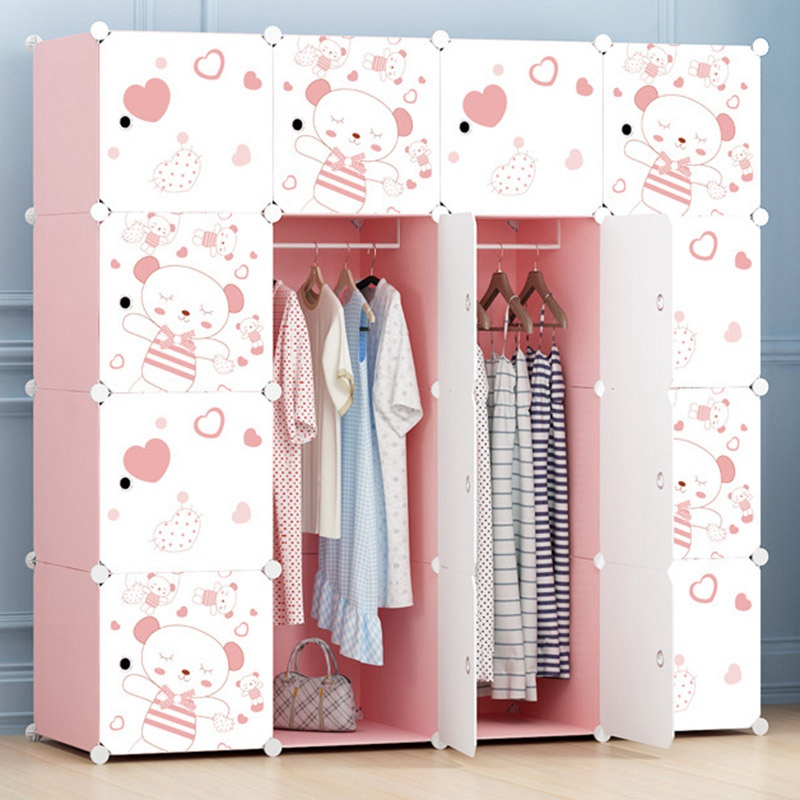Portable Cabinet Cartoon Wardrobe Cabinets Closet DIY Folding Clothes Storage Cabinet Wardrobe Bedroom Closet Furniture wardrobe extra large eco friendly cartoon hanging clothes cabinet wardrobe storage box wire combined type child simple