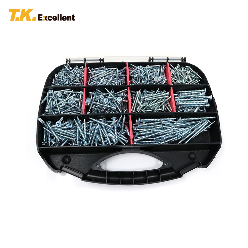 T.K.EXCELLENT Fibreboard Screws Kit Carbon Steel Head Pozi Chipboard Fibreboard Screws Plug Set Fasteners Tools Screws 800 Pcs