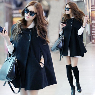 2014 new European and American women's fall and winter woolen cape coat in sub-paragraph cape shawl long thin jacket