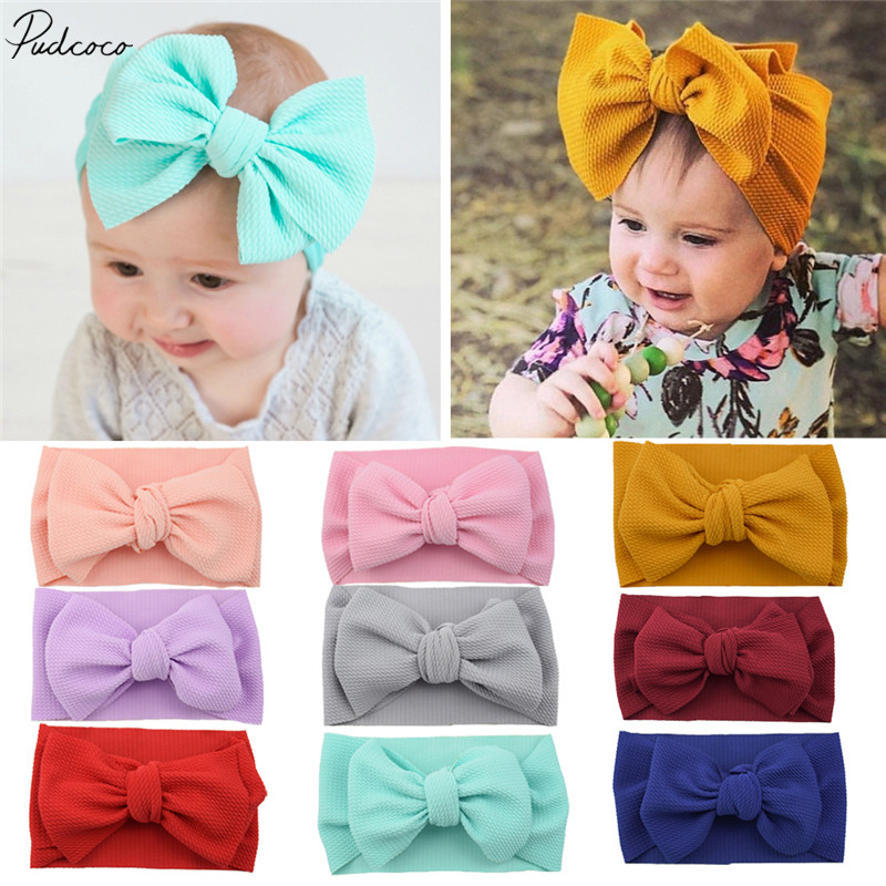 2019 Baby Accessories Toddler Girls Boys Kids Baby Solid Bow Hairband Headband Stretch Turban Knot Head Wrap Kids Props Gifts