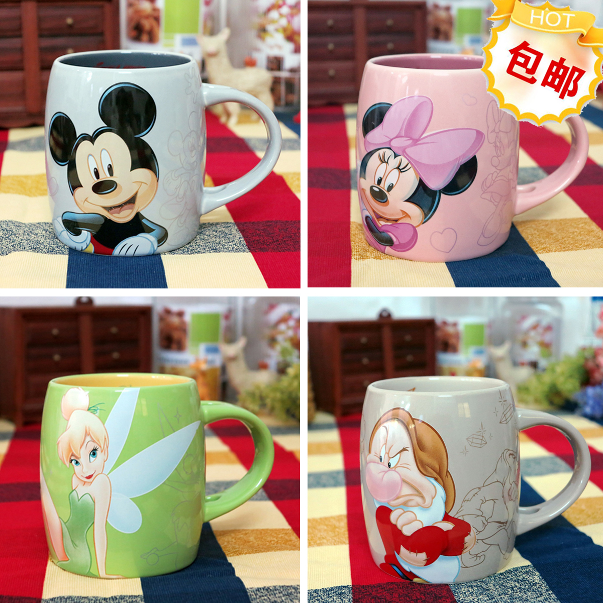 Original Mickey Minnie Pink Tinker Bell Seven Drawfs Cute Porcelain Coffee Mug Cup Birthday Gift taza de m&m