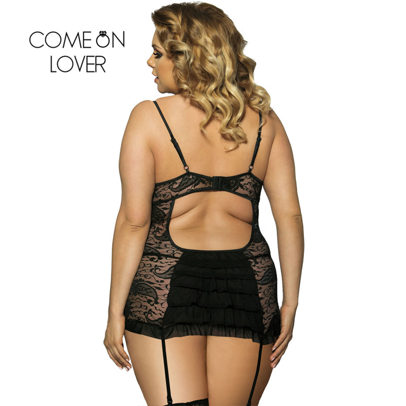 Comeonlover Sexo Porno Hot Erotic Sexy Costume Exotic Apparel Sex Dress Lace Mesh Plus Size 6XL Sexy Lingerie Babydoll RI7296  1