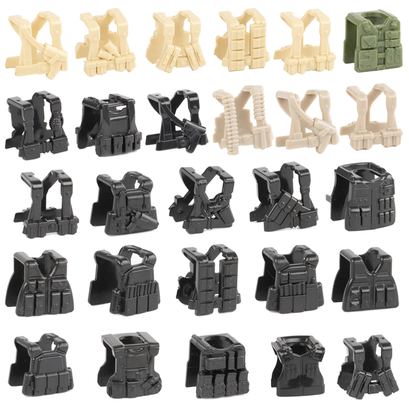 Military Soldier Weapons Accessories Blocks Legoing WW2 German Figures Parts Vest Building Block SWAT Police Body Wear Brick Toy