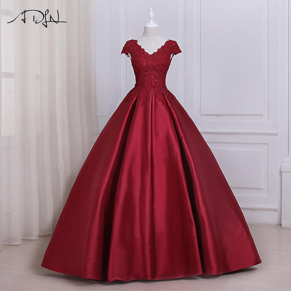 ADLN Elegant Burgundy Prom Dresses Long Applique V-neck Sleeveelss ...
