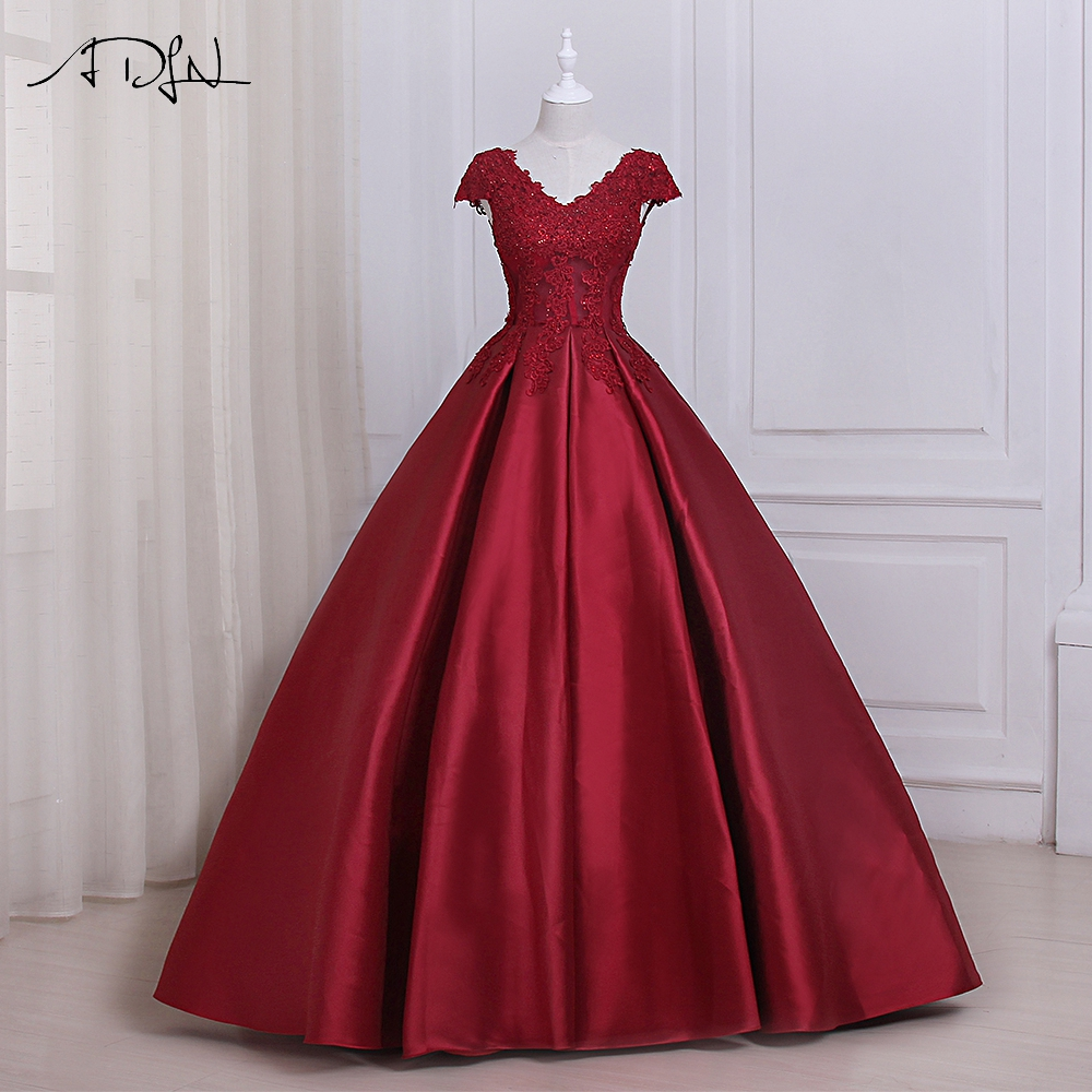 ADLN Elegant Burgundy   Prom     Dresses   Long Applique V-neck Sleeveelss Floor Length Formal Evening Party Gowns Lace-up Back