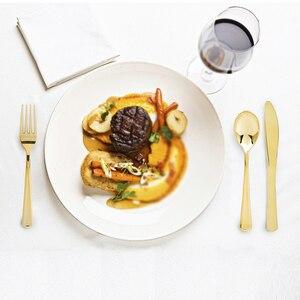 Image 2 - Одноразовые столовые приборы набор золото/серебро/роза с золотым ножом/вилка/ложка кофе ресторан столовая ложка для европейского десерта