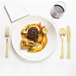 Image 2 - Jednorazowy zestaw obiadowy złoty/srebrny/różowe złoto nóż/widelec/łyżka kawiarnia zastawa stołowa jadalnia łyżka do europejskiego deseru