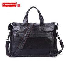 Business Men Briefcase Genuine Leather Men 's shoulder Bag Leisure Casual Messenger Briefcase male handbags Men' s Black Bags
