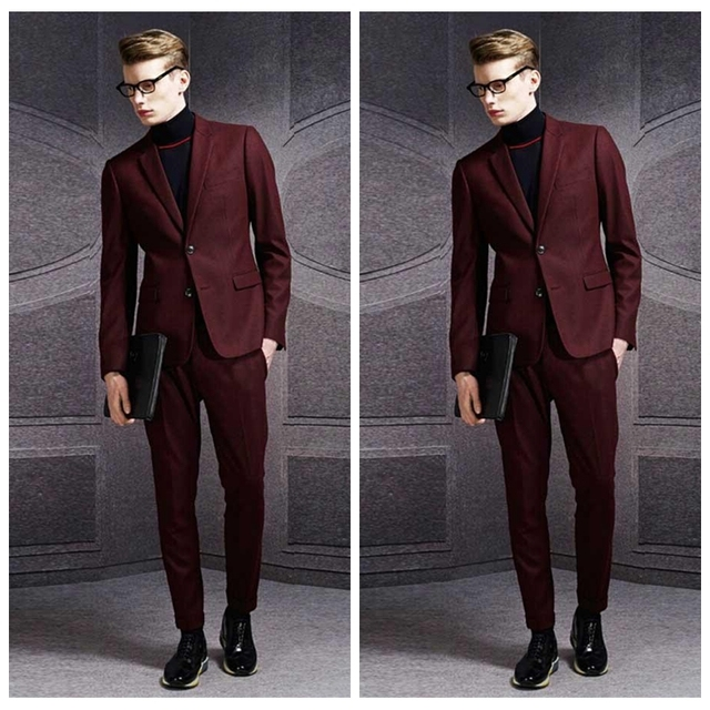 0cb989dc4c4 Elegant 2019 Dark Red Wedding Tuxedos Slim Fit Groom Suits For Men  Groomsmen Suit Cheap Prom Business Formal Suits (Jacket+Pant)