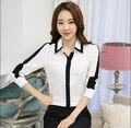 2017 Spring Women's Chiffon Shirts Fashion Slim Long Sleeve Blouses Tops Ladies White And Black Patchwork Slim Work OL Shirts