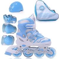kids roller skate shoes, four gear adjust children roller skating with protect gear, PU wheel flash wheel kids inline skates