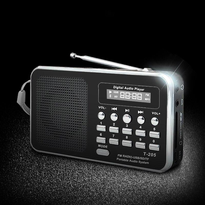 נייד רדיו FM תמיכת SD/TF כרטיס מיני FM רדיו מקלט דיגיטלי עם USB LED אור מוסיקה נגן עבור טלפון MP3 MP4 רמקולים