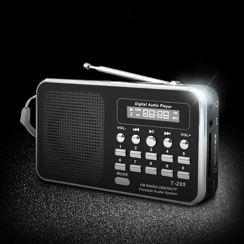 Portable Radio FM Support SD/TF Card Mini FM Radio Receiver Digital with USB LED Light Music Player for Phone MP3 MP4 Speakers 5pcs pocket radio 9k portable dsp fm mw sw receiver emergency radio digital alarm clock automatic search radio station y4408