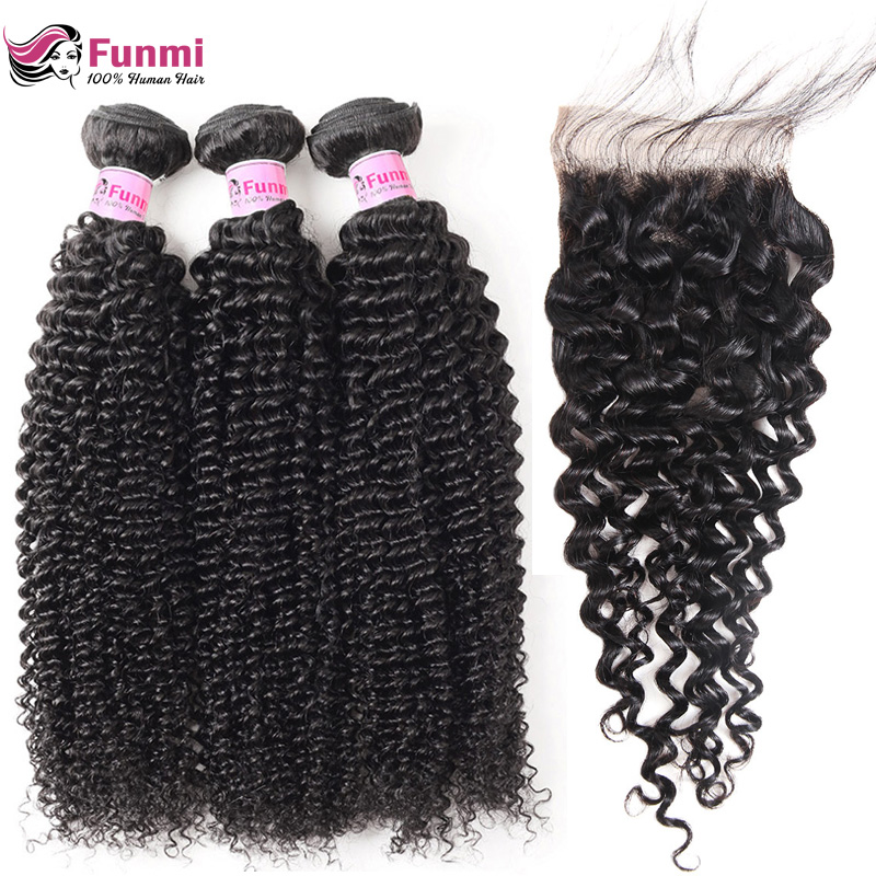 Virgin Curly Weave Human Hair With Closure 4PCS Lot Brazilian Virgin Hair Weave Bundles With Closure Funmi Hair Extensions