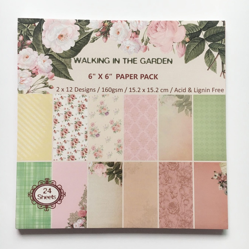 Scrapbook paper aliexpress - New Style 6 Background Paper Pad Colorful Vintage Garden Flower Themem Patterns 24sheets Diy Scrapbooking Paper Pack Paper Craft