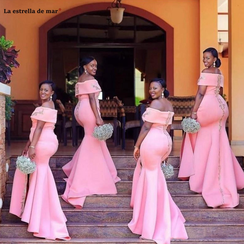 African Arabic Plus Size Pink Mermaid   Bridesmaid     Dresses   Off Shoulder Floor Length vestido madrinha Satin wedding party   dress