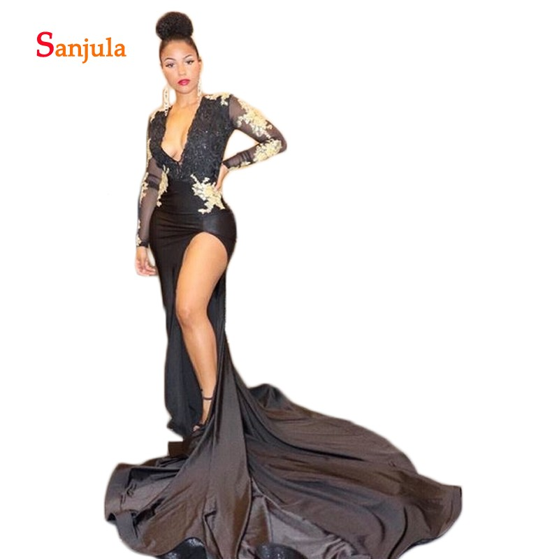 Deep V Neck Sheath   Prom     Dresses   Black Spandex Formal   Dresses   Long Sleeve Gold Appliques Leg Slit Girls Graduation   Dress   D973