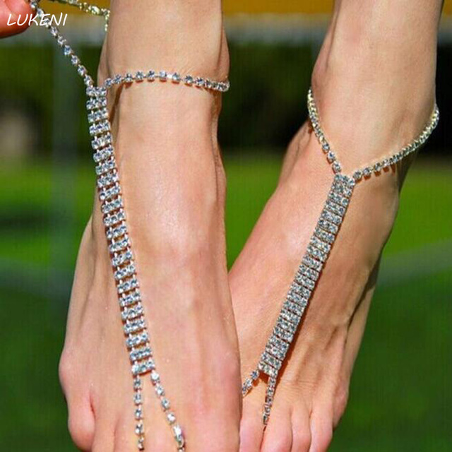 1Pcsset Fashion Foot Anklet Toe Ring Anklet Rhinestone Crystal