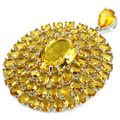 Long Big Golden Citrine, White CZ Created SheCrown Wedding Ladies   Silver Pendant 55x42mm