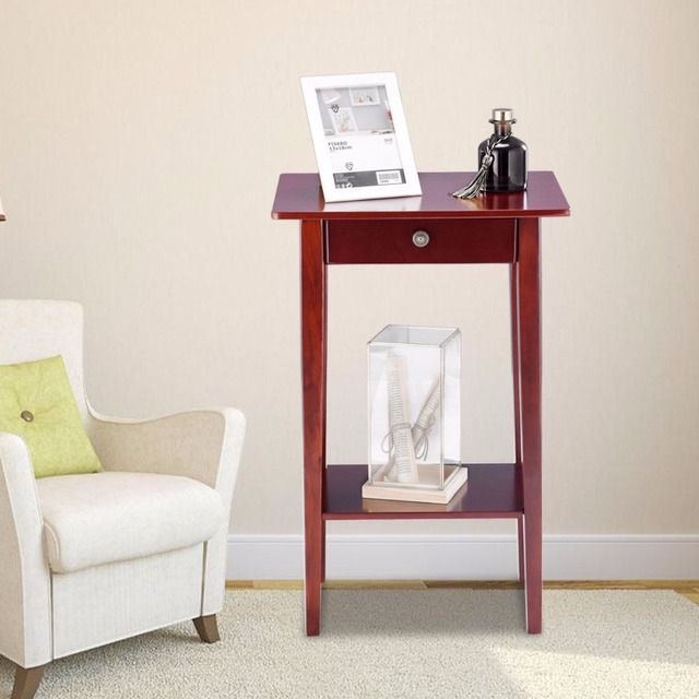 wood side tables living room corner fireplace set up giantex end table tall accent style telephone stand drawer shelf furniture hw57881