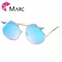 MARC UV400 NUOVE DONNE Polarizzati moda Occhiali in metallo Giallo del Nastro occhiali da sole di Guida Oculos