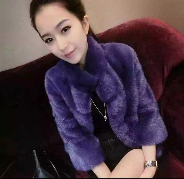 Pomotion Luxury Purple Natural Full Pelt Mink Short Women Coat Real Mink Fur Overcoat Genuine Lady Elegent Short Jacket MLXL
