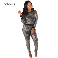 Women Sequin 2 Piece Set CropTop And Pants Metallic Tracksuit Pants Set Club Outfit Woman Casual Slim Bodycon Sexy Party Outfit