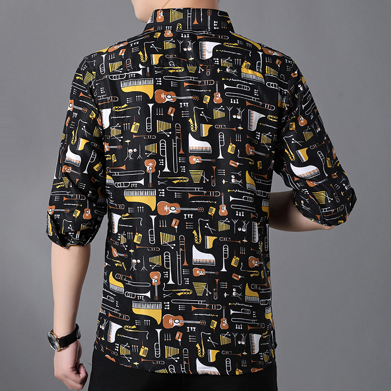 Luxury Printing Shirt Men Long Sleeve Camisa Masculina Chemise Homme Black Business Casual Shirts Plus Size 6XL 7XL in Casual Shirts from Men 39 s Clothing
