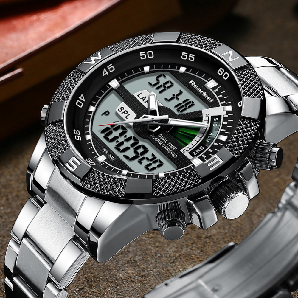Fashion Top Brand Mens Digital Analog Watch Luxury Sport Military Waterproof Stainless Male Watch Clock Relogio Masculino 2019(China)