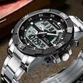 Moda marca superior dos homens relógio analógico digital de luxo esporte militar à prova dstainless água inoxidável masculino relógio relogio masculino 2019