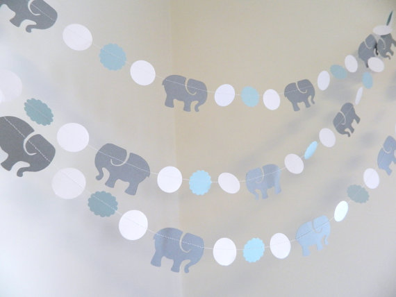 Elephant Garland Elephant Baby Shower Decorationsblue Gray