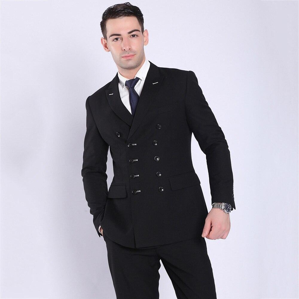TOTURN 2018 mode hommes costumes noir bleu marine Double boutonnage Costume veste pantalon mâle blazers occasionnels affaires manteau formel Costume