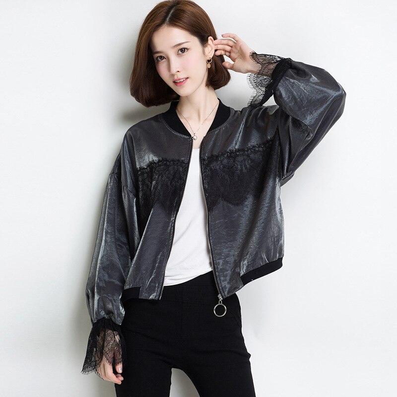 Mode Frauen Bomber Jacke Langarm Spitze Sonnenschutz Shirt Kurze Sommer Dünne Mantel Casual Baseball Mantel Bs88 Jacken & Mäntel Basic Jacken