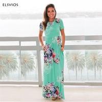 ELSVIOS Phụ Nữ Bohemia Hoa In Dài Ăn Mặc nữ short sleeve O bãi biển cổ boho dài váy lỏng lẻo maxi dress Vestido cộng với kích thước
