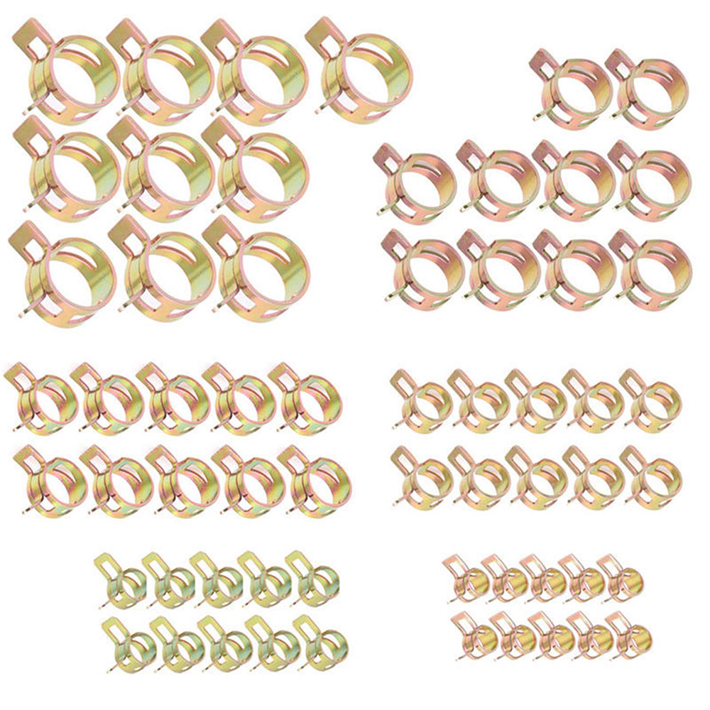 60Pcs 6/9/10/12/14/15mm Assortment Set Hose Clamps Fuel Hose Line Water Pipe Clamp Hoops Air Tube Fastener Spring Clips ac12 4 stainless steel hose hoops clamps set silver 12 pcs