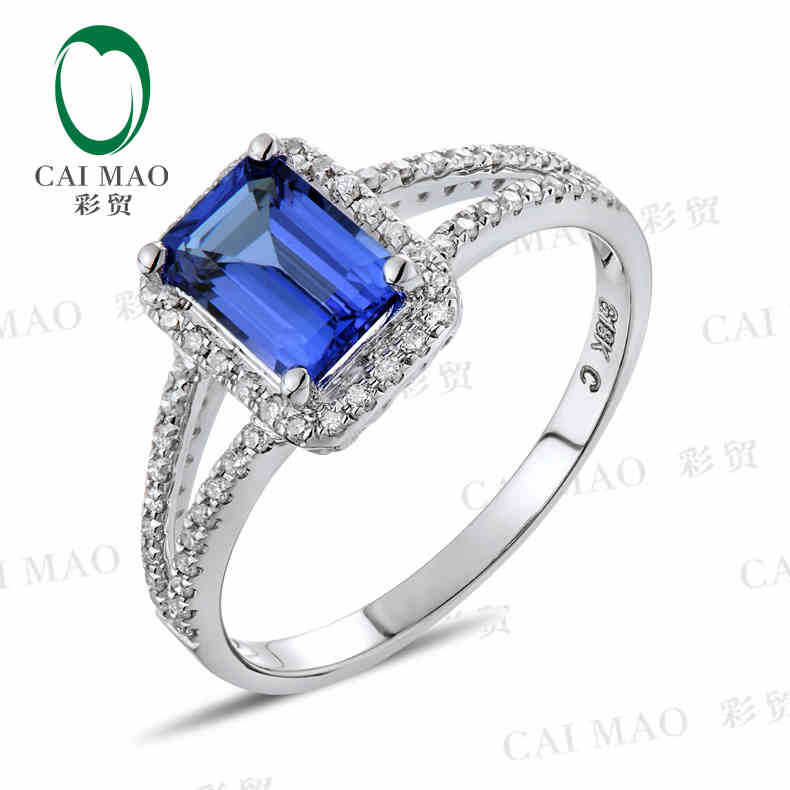 CaiMao 18KT/750 White Gold 1.08 ct Natural IF Blue Tanzanite AAA 0.21 ct Full Cut Diamond Engagement Gemstone Ring Jewelry