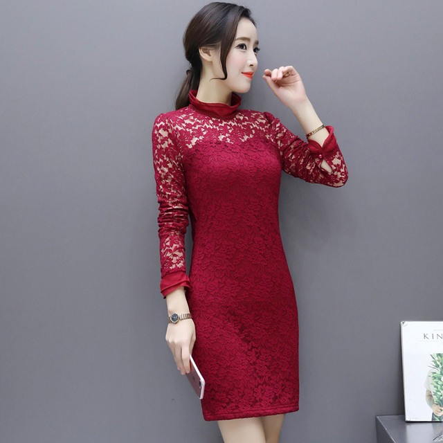 82ad688094e7 New Thick Fleece Lace Dresses For Women 2019 Long Sleeve Pack Hip Slim  Pencil Dress Female Autumn Winter Warm Sexy Dress