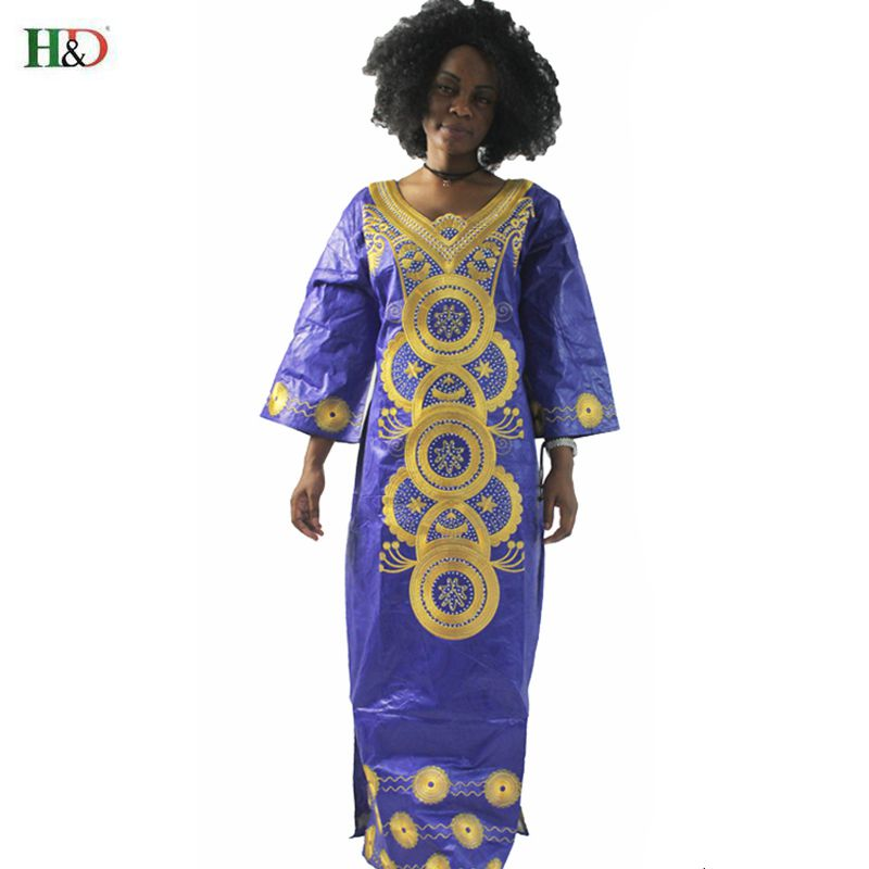 H&D modni vez Afrički ženska haljina Bazin Riche 100% pamuk dugi - Nacionalna odjeća - Foto 3