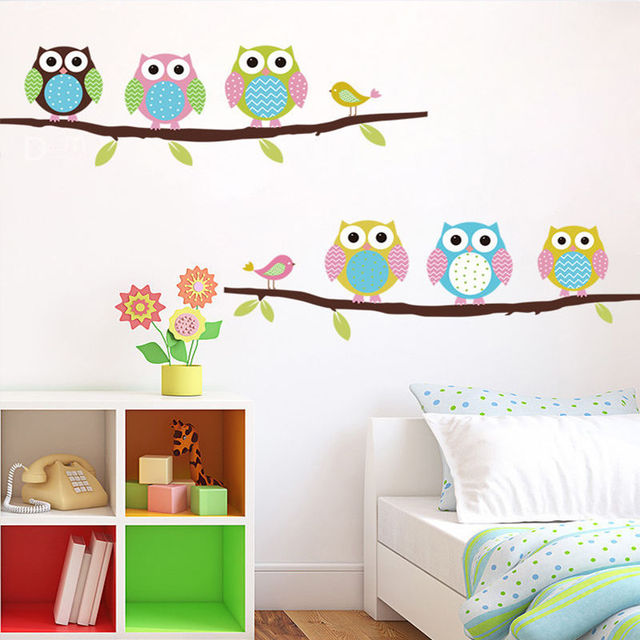 Hot 1pc Owl Wall Stickers Childrenu0027s Room Bedroom Walls Painted Decorative  Stickers Sale Attractive Lovely Home