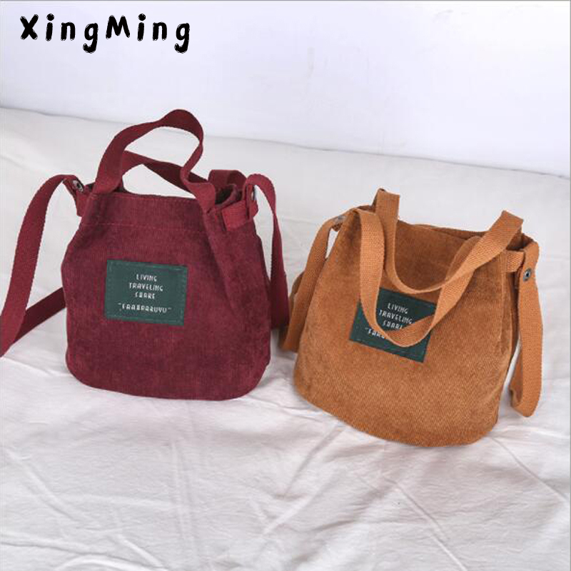 XINGMING 2019 Designer Handbags High Quality Women Bag Vintage Corduroy  Shoulder Bags New Corduroy Bucket Shoulder Handbags